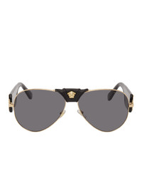 Versace Black Baroque Aviator Sunglasses