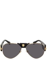 Versace Black Gold Medusa Aviator Sunglasses