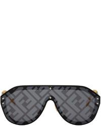 Fendi Black Yellow Fabulous Shield Sunglasses