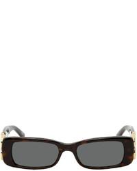 Balenciaga Brown Dynasty Rectangle Sunglasses