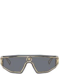Versace Gold Grey Shield Medusa Sunglasses