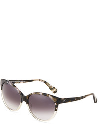 Diane von Furstenberg Martha Two Tone Acetate Cat Eye Sunglasses Demi Smoke