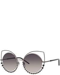 Marc Jacobs Metal Rim Gradient Cat Eye Sunglasses W Rhinestones Pewter
