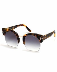 Tom Ford Savannah Semi Rimless Cropped Round Sunglasses Smoketortoise