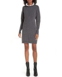Sandro Ancolie Eyelet Collar Sweater Dress
