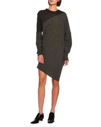Asymmetric virgin wool sweater dress charcoal medium 3746145