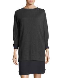 Brunello Cucinelli Cashmere Chiffon Trim Sweaterdress Dark Gray