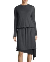 Brunello Cucinelli Chiffon Trim Wool Sweaterdress Dark Gray