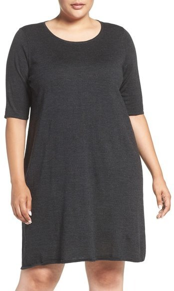 $258, Eileen Fisher Plus Size Crewneck Merino Jersey Sweater Dress