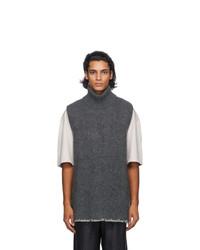 Maison Margiela Grey Wool Sleeveless Sweater