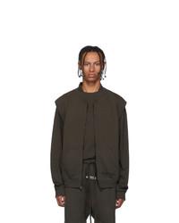 Essentials Khaki Sleeveless Zip Up Sweater