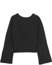 Rosetta Getty Ribbed Alpaca Blend Sweater Charcoal
