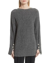 3.1 Phillip Lim V Back Sweater With Faux Pearl Cuffs