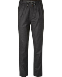 Brunello Cucinelli Slim Fit Tapered Wool Flannel Drawstring Trousers