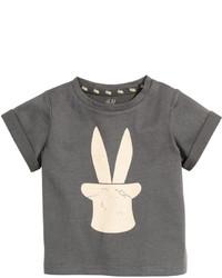 H&M T Shirt With Printed Design Dark Gray Kids