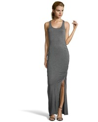 Heather charcoal stretch jersey ruched maxi tank dress medium 215832