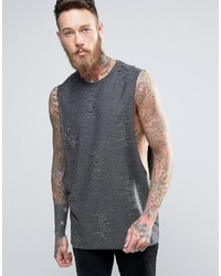 Asos Longline Tank With Distressing In Charcoal