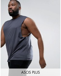 Asos Plus Sleeveless T Shirt With Dropped Armhole In Gray