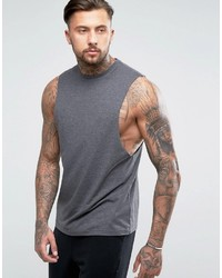 Asos Tank With Dropped Armhole In Charcoal Marl
