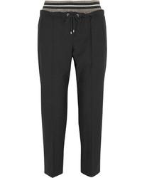 Metallic wool blend crepe tapered pants gray medium 3947306