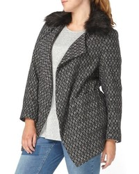 Evans Plus Size Textured Open Front Coat With Faux Fur Collar