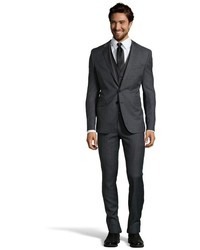 Hugo Boss Charcoal Microcheck Wool Three Piece Suit With Flat Front Pants