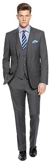 c546b26e Hugegenius Slim Fit Virgin Wool Blend Stripe 3 Piece Suit. Charcoal Three Piece  Suit by Hugo Boss