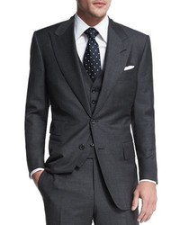 Windsor base sharkskin three piece suit charcoal medium 705085