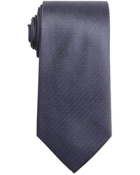 Saint Laurent Yves Charcoal And Silver Microcheck Silk Tie