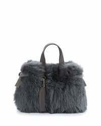 Brunello Cucinelli Shearling Fur Tote Bag With Leather Trim