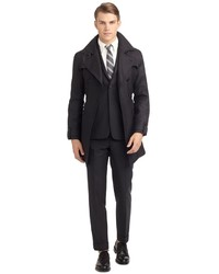 Brooks Brothers Charcoal Hopsack Belted Trench