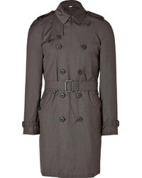 Burberry London Wool Silk Trench Coat In Dark Charcoal