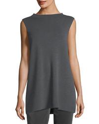 Mock neck sleeveless washable crepe tunic medium 5264506