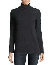Neiman Marcus Cashmere Collection Asymmetric Crochet Shoulder Cashmere Turtleneck