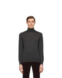 Ermenegildo Zegna Grey Cashmere And Silk Turtleneck