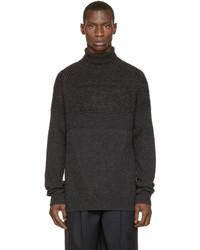 Juun.J Grey Ribbed Wool Turtleneck