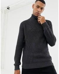 YOURTURN Knitted Polo Neck In Dark Grey