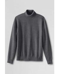 Lands' End Merino Textured Turtleneck Sweater Blue Jay Stripe