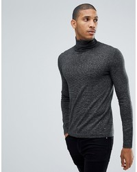 Tom Tailor Polo Neck Jumper In Charcoal