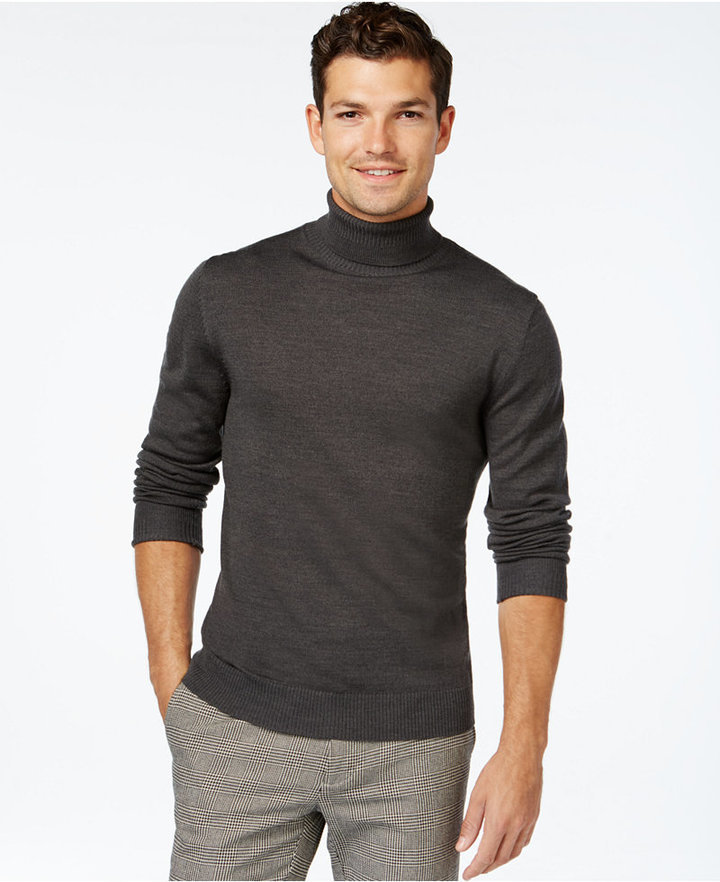 2ea26cf2561 Ribbed Wool Turtleneck Sweater. Charcoal Turtleneck by Vince Camuto