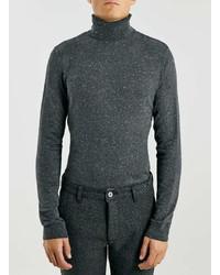 Topman Charcoal Neppy Turtle Neck Sweater