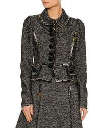 Dolce & Gabbana Chiffon Trim Tweed Jacket Gray