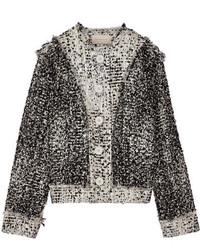 Frayed metallic wool blend boucl tweed jacket gray medium 714520