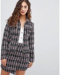 Glamorous Smart Jacket In Textured Tweed Co Ord Tweed