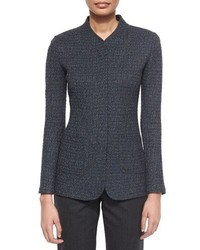 St. John Collection Tweed Knit Color Fleck Jacket Gray Marble Multi