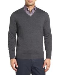 Big tall john w nordstrom merino wool v neck sweater medium 816177