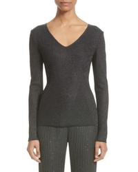 Collection engineered rib sparkle knit sweater medium 5170114