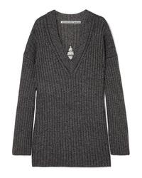 Alexander Wang Dream Catcher Embellished Cutout Ribbed Wool Blend Sweater