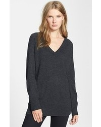 Equipment asher v neck cashmere sweater charcoal heather grey medium medium 85220