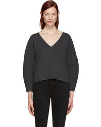BLK DNM Grey Wool V Neck Sweater